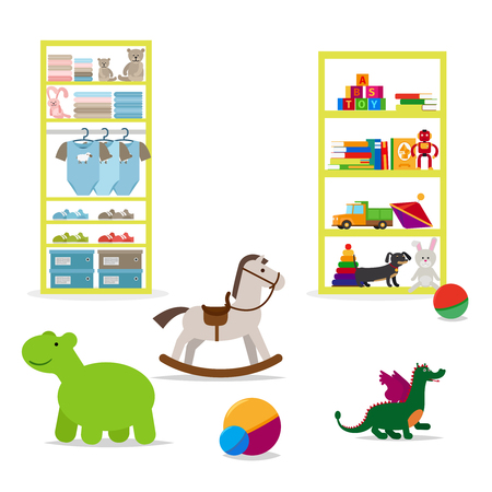 accessories horse: Children shop interior elements. Toys and children clothing on the shelves. icons Illustration