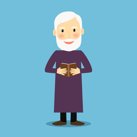 book of revelation: Evangelist. Old man with book like bible, standing and smiling. Vector illustration Illustration