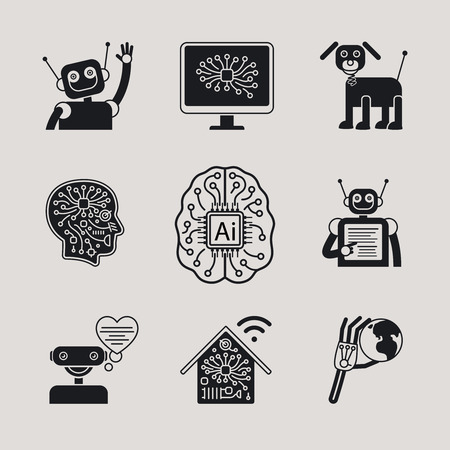 intelligence: AI, Artificial Intelligence, AI icons ans AI signs.