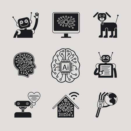 inteligencia: AI, Inteligencia Artificial, AI iconos American National Standard signos de AI. Vectores