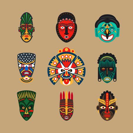 inca: Ethnic mask icons or inca flat masks. Tribal ethnic masks illustration