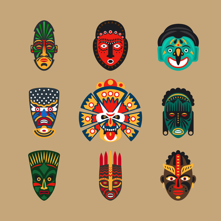 Ethnic mask icons or inca flat masks. Tribal ethnic masks illustration