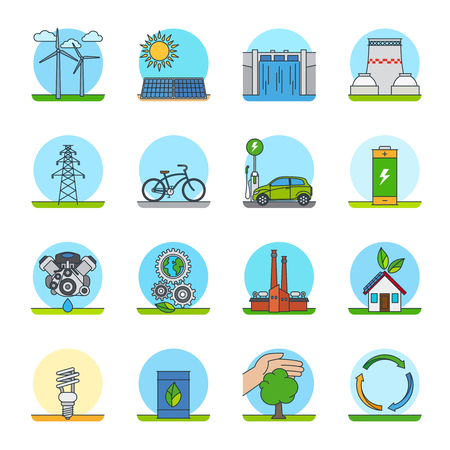 green power: Green energy color line icons. Green power types or green technologies line icons Illustration
