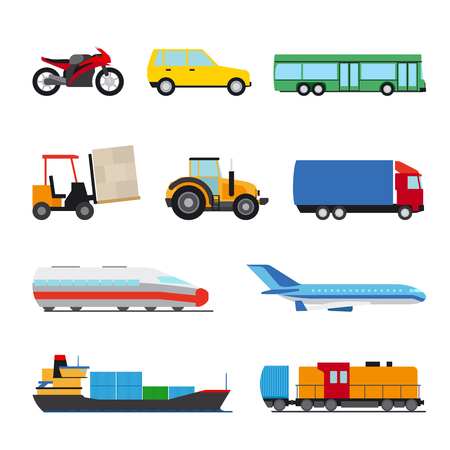 cartoon tractor: Transport flat icon. Perfect flat car ship and plane icons Illustration