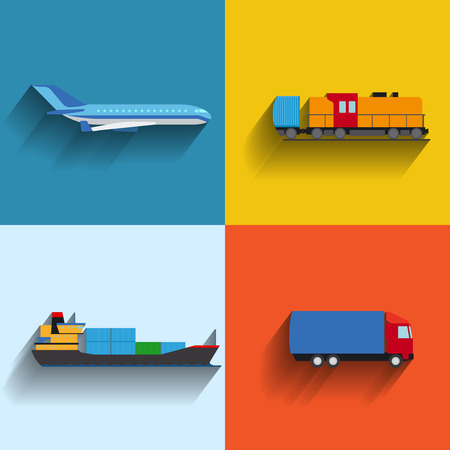 goods station: Transportation concept flat icons. Cargo ship and plane and truck illustration Illustration