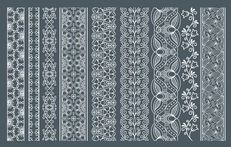 vertical divider: Lace borders. Vertical seamless lace patterns.