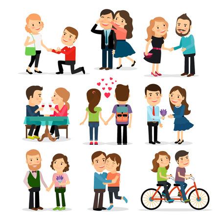 Las parejas en el amor conjunto. Amantes del hombre y la mujer en la ilustración del amor Foto de archivo - 54785173