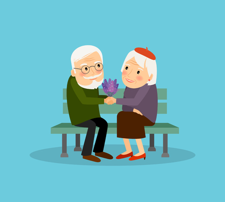 lovely couple: Lovely old couple sitting on bench