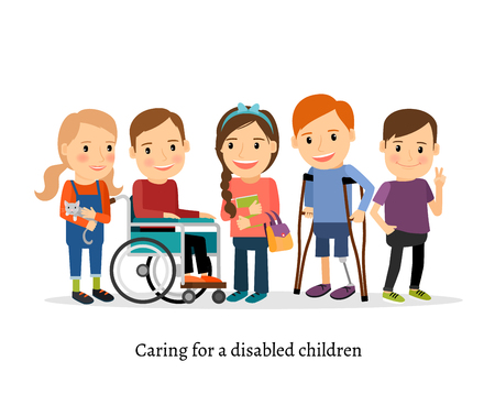 Disabled children or handicapped children with friends. Children with special needs vector illustration Çizim