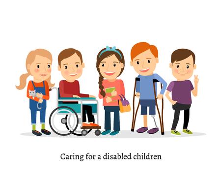 Los niños discapacitados o niños discapacitados con amigos. Los niños con necesidades especiales ilustración vectorial