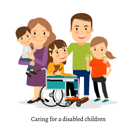 special needs: Family with special needs children, family with handicapped children. Vector illustration