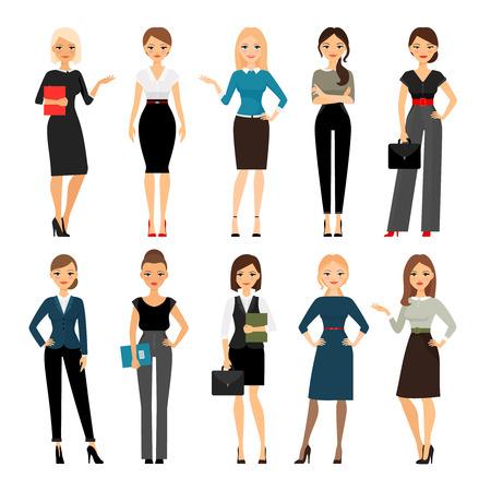 Vrouwen in het kantoor van kleding. Mooie vrouw in zakelijke kleding. vector illustratie