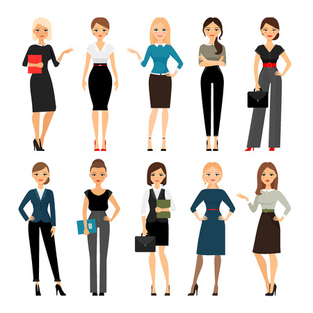 Women in office clothes. Beautiful woman in business clothes. Vector illustration Çizim