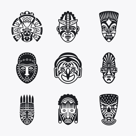 tiki head: Tribal mask icons. Monochrome ethnic masks vector images on white background