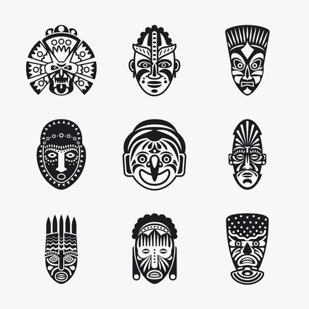tiki head: Tribal mask icons. Monochrome ethnic masks vector images on white background
