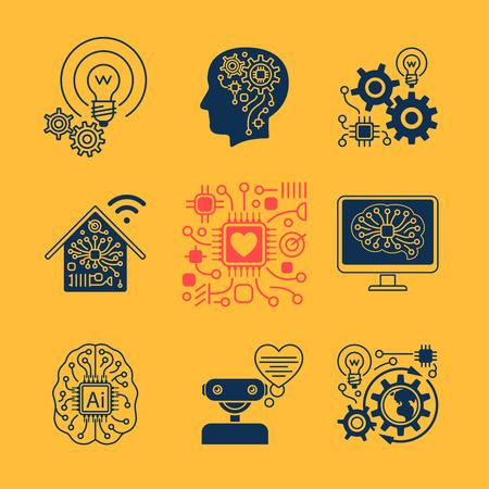 새로운 기술 아이콘, 인공 지능 표지판 및 스마트 혁신 기호입니다. 벡터 일러스트 레이 션