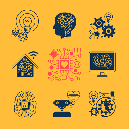intelligence: New technologies icons, artificial Intelligence signs and smart innovation symbols. Vector illustration