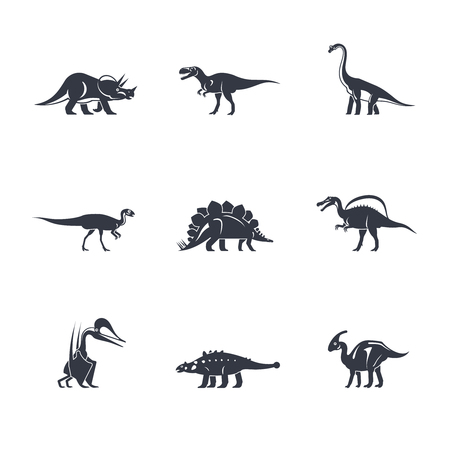 diplodocus: Dino icons set. Dinosaurs black silhouettes on white background. Vector illustration