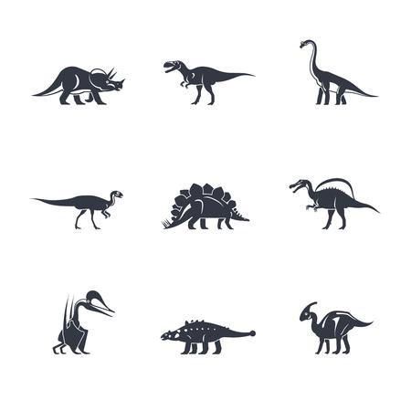dinosaurus: Dino icons set. Dinosaurs black silhouettes on white background. Vector illustration
