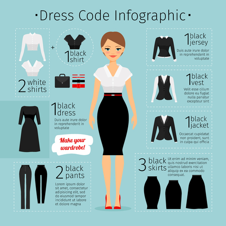 working dress: Business woman clothes infographics. Female Business dress code. Vector illustration