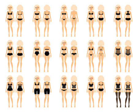 women body: Types of woman underwear. Pretty girl in bra and panties vector illustration