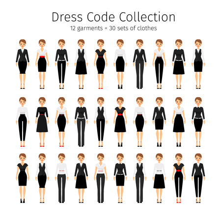Business woman collection. Women dress code vector set Illustration