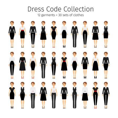 dress code: Business woman collection. Women dress code vector set Illustration