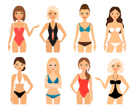 bikini top: Women in swimsuit. Beautiful girls in bathing suits of different types. Vector illustration Illustration