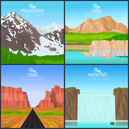 mountain view: Landscape set. Mountain landscape and landscape with a waterfall, landscape with the road and the view of the lake vector illustration