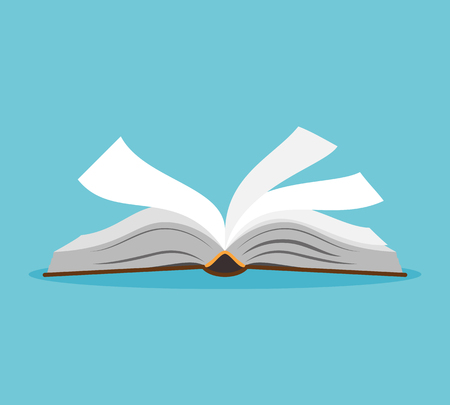 Opened book illustration. Open book with pages fluttering. Vector illustration