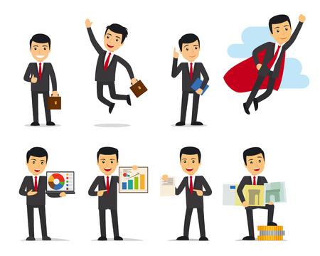 Cartoon businessman poses. Businessman isolated on white vector illustration