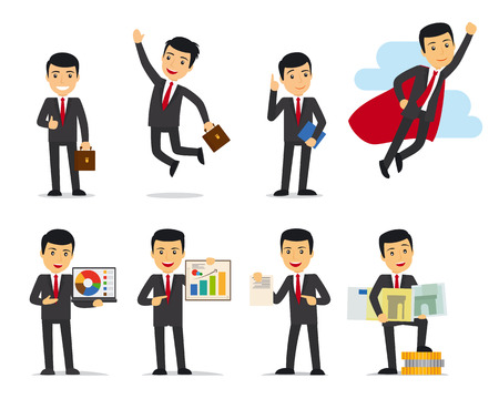 Cartoon businessman poses. Businessman isolated on white vector illustration