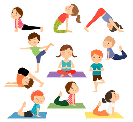 Children yoga. Kids doing yoga in different yoga poses. Vector illustration Stock Illustratie