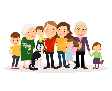 Cartoon family portrait. Big family together. Vector illustration