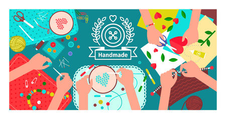 Creative handmade workshop banner. Handmade and creativity background. Vector illustration
