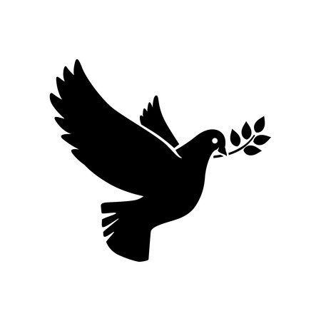 a twig: Dove icon. Flying dove with olive twig vector sign