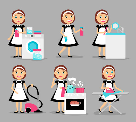 ironing: Housewife characters. Woman house working icons. Vector illustration