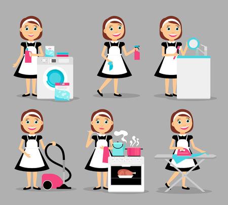 personajes Ama de casa. Mujer casa iconos de trabajo. ilustración vectorial