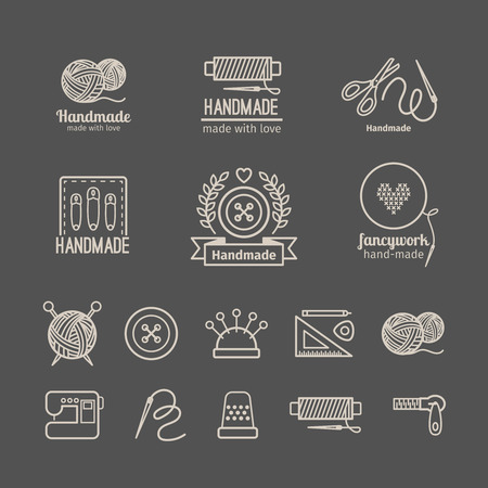 sew: Handicraft logo set. Hand crafted signs and hand made labels elements. Vector illustration Illustration