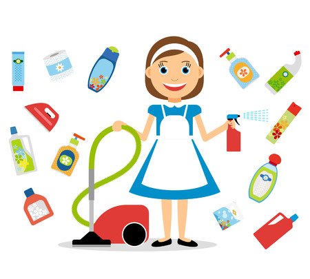clean home: House cleaning. Housewife and home cleaning icons. Vector illustration