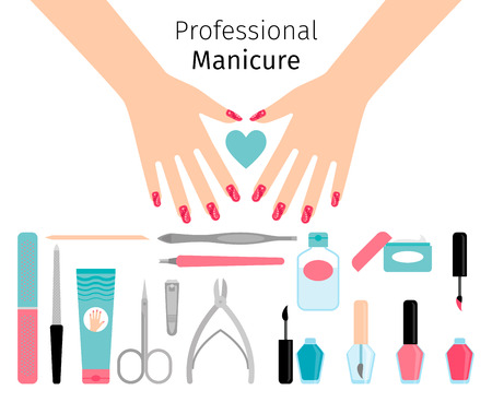 cuticle pusher: Professional manicure poster in flat style. Nails manicure or hands with manicure on white background.