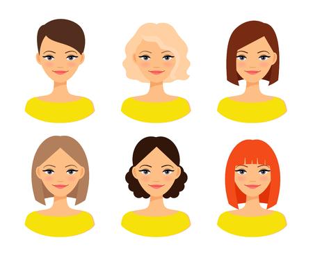 Womens facce. Donna con diverso colore dei capelli e acconciature diverse illustrazione Vettoriali