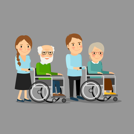 Social worker strolling wheelchair with elderly man and woman.