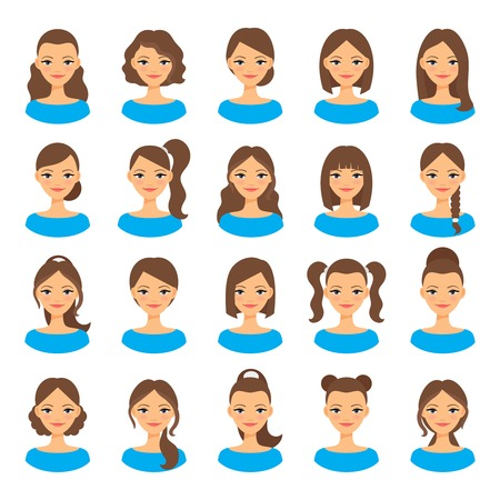Womens hairstyles. young woman with various hair styles illustration
