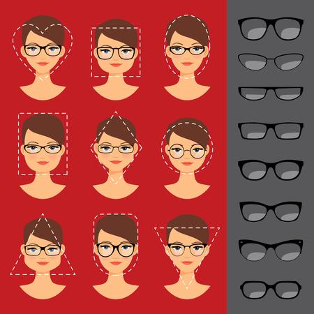 다른 안경은 다른 얼굴 모양을 위해 형성한다. 삽화 일러스트