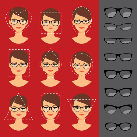 spectacle frame: Different glasses shapes for different face shapes. illustration