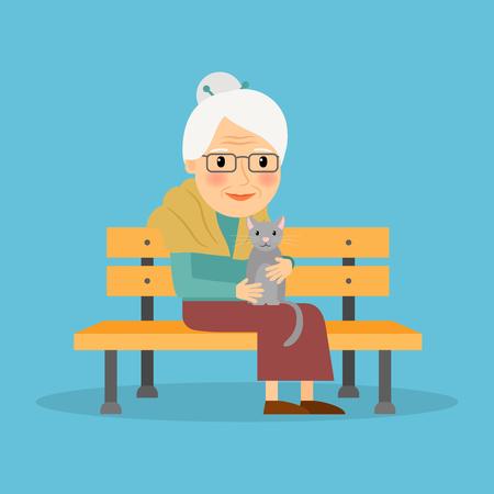 Frau mit katze alte Alte Frau