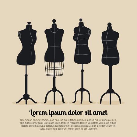 Female body vintage mannequin set. Tailors mannequins illustration Vectores