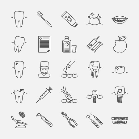 oral hygiene: Dental clinic line icons, oral hygiene and dental health care signs. Vcetor illustration