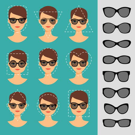 Womens Sunglasses Shapes for different face shapes vector illustration Vectores
